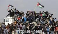 Bentrokan antara Demonstran Palestina dan Serdadu Israel