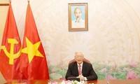 Máximo líder político de Vietnam conversa con su homólogo laosiano