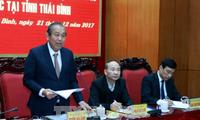 Déplacement du vice-Premier ministre Truong Hoa Binh à Thai Binh