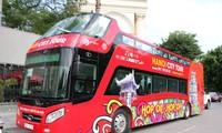 Exploring Hanoi on a hop-on/hop-off bus tour