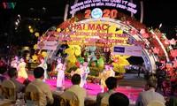 Die Blumen- und Lichtdekoration in den Straßen in Can Tho