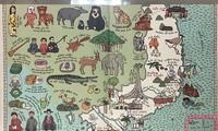 Die handgemalte Landkarte der beiden polnischen Autoren fasziniert vietnamesischen Leser