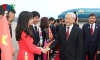 Tổng Bí thư Nguyễn Phú Trọng bắt đầu các hoạt động đầu tiên trong chuyến thăm Hàn Quốc