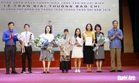 Pemberian Penghargaan pers nasional tentang pekerjaan di kalangan Liga Pemuda dan gerakan pemuda dan anak-anak tahun 2018