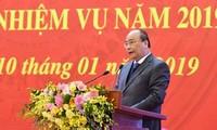 Konferensi Nasional  tentang evaluasi pekerjaan penggerakan massa rakyat tahun 2018 berlangsung di Kota Hanoi