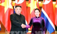 Ketua MN Vietnam, Ibu Nguyen Thi Kim Ngan melakukan pertemuan dengan Ketua RDRK, Kim Jong-un
