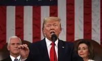 Presiden AS, Donald Trump membaca pesan federal terakhir dalam masa baktinya