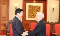 Sekjen, Presiden Vietnam Nguyen Phu Trong menerima PM Laos, Thongloun Sisoulith