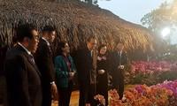 """Delegasi pemimpin Partai Pekerja Korea mengunjungi pola penanaman pihak bunga anggrek di Koperasi """"Dan Hoai"""", Kota Hanoi"""