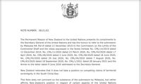 Selandia Baru Mengirim Nota kepada PBB untuk Menolak Klaim tentang Hak Bersejarah di Laut Timur