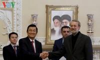 Staatspräsident Truong Tan Sang führt Gespräch mit dem iranischen Parlamentspräsidenten