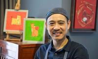Treffen des Malers Pham Ha Hai, Autor der Briefmarkensammlung des Tet-Fests
