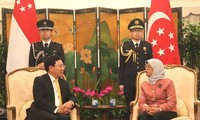 Vize-Premierminister, Außenminister Pham Binh Minh trifft Singapurs Spitzenpolitiker