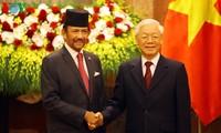 KPV-Generalsekretär, Staatspräsident Nguyen Phu Trong führt Gespräch mit dem König von Brunei