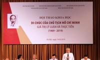 """Seminar """"Testament des Präsidenten Ho Chi Minh – Theoretische und praktische Werte"""""""