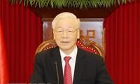 KPV-Generalsekretär Nguyen Phu Trong nimmt an der Online-Konferenz zwischen der KP Chinas und den Parteien weltweit teil