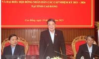 응우옌 득 하이 (Nguyễn Đức Hải) 국회부의장, 까오방(Cao Bằng)성 선거 상황 점검