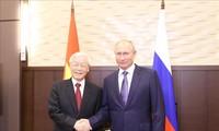អគ្គលេខាបក្សកុម្មុយនិស្តវៀតណាមលោក Nguyen Phu Trong អញ្ជើញជួបសន្ទនាជាមួយប្រធានាធិបតីសហព័ន្ធរុស្ស៊ីលោក Vladimir Putin