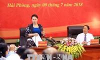 越南国会主席阮氏金银视察海防市