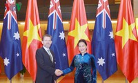 越南国会主席阮氏金银与澳大利亚联邦议会参议长瑞安举行会谈