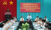 阮春福总理与九龙江平原各省就干旱和咸潮入侵问题举行工作会议