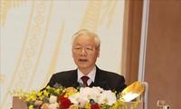 越共中央总书记、国家主席阮富仲与老挝总书记通伦·西苏里通电话