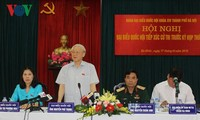 Party leader Nguyen Phu Trong meets voters in Ba Dinh precinct, Hanoi