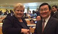 Presiden Negara Vietnam, Truong Tan Sang melakukan kontak dengan PM Kerajaan Norwegia, Erna Solberg