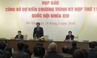 Kantor MN mengadakan jumpa pers untuk mengumumkan agenda dan isi persidangan ke-11 MN angkatan ke-13