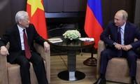 Presiden Rusia, Vladimir Putin menyampaikan ucapan selamat kepada Sekjen, Presiden Viet Nam, Nguyen Phu Trong sehubungan dengan tahun baru