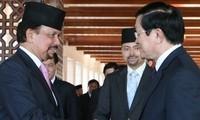 越南国家主席张晋创与文莱苏丹哈桑纳尔.博尔基亚举行会谈