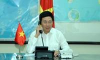 越南政府副总理兼外长范平明同多国外长通电话