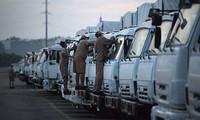 俄罗斯人道援助车队开赴俄乌边境