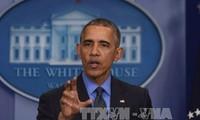 美国总统奥巴马在白宫举行年终记者会