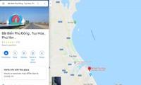 谷歌地图纠正关于越南富安省绥和市海滩的错误注释