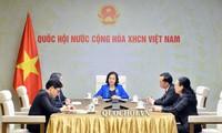 越南国会主席阮氏金银与老挝国会主席巴尼通电话