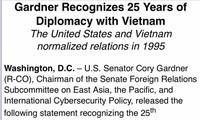 美国参议员发表声明 对越美关系正常化25年予以肯定