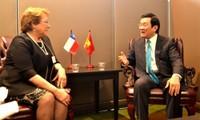 Presiden Truong Tan Sang melakukan pertemuan dengan Presiden Austria dan Presiden Cile