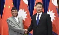 Chinas Staatschef Xi Jinping führt Gespräch mit Nepals Premierminister Sharma Oli