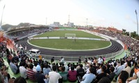 Fussballnationalmannschaft Vietnams vor Freundschaftsspiel mit dem Klub Binh Dinh