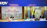 Parlamentspräsident Vuong Dinh Hue führt virtuelles Gespräch mit Vorsitzendem des Gesetzgebungsrates Bruneis