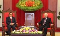 KPV-Generalsekretär Nguyen Phu Trong empfängt Delegation der Laotischen Front für nationalen Aufbau