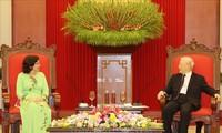 KPV-Generalsekretär und Staatspräsident Nguyen Phu Trong trifft Kubas Botschafterin Rivera