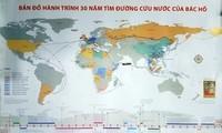 Karte des Weges von Präsident Ho Chi Minh auf der Suche nach dem Weg zur Rettung des Landes