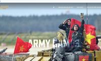 Webseite über Army Games 2021 des Verteidigungsministeriums in drei Sprachen