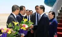 Presiden Mesir, Abdel Fattah Al Sisi memimpin acara penyambutan dan pembicaraan dengan Presiden Viet Nam, Tran Dai Quang