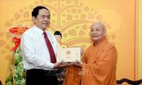 Ketua Pengurus Besar Front Tanah Air Vietnam Berkunjung dan Menyampaikan Ucapan Selamat Hari Raya Tet kepada Ketua Dewan Pengurus Besar Sangha Buddha Vietnam