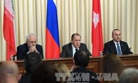Russia, Iran, and Turkey vow to speed up ceasefire in Syria
