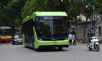 VinGroup's electric buses run on Hanoi's busy streets
