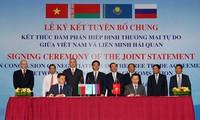 Kết thúc đàm phán FTA Việt Nam và Liên minh hải quan Nga -  Belarus - Kazakhstan